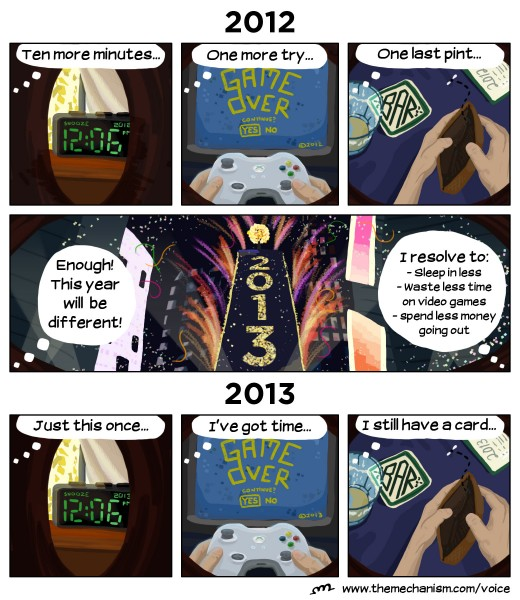This year I have three main resolutions. I chose to embody them in comic form. Let's hope I can enact them better than my illustrated avatar.