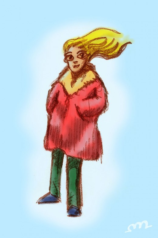 Switching to a less intense process of this week. A quick colored doodle of a lovely cartoon lady in a warm winter coat.